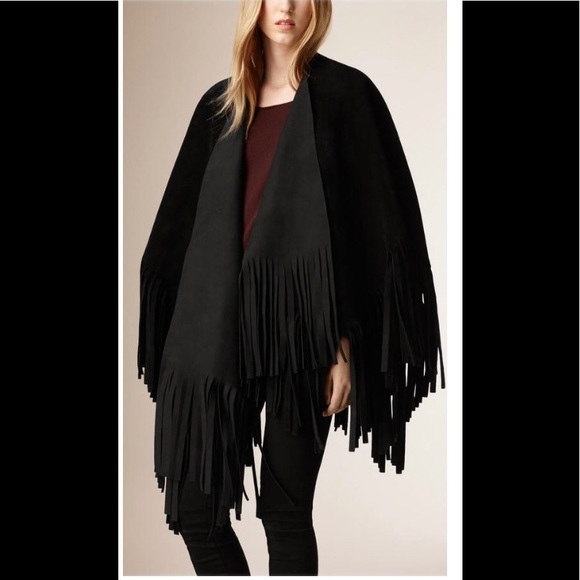 Burberry Prorsum Fringed Suede Leather Poncho Cape